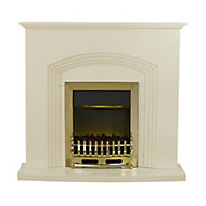 Blyss Kirkdale Cream Brass effect Electric Fire Suite