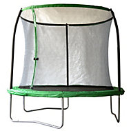Black & green 8 ft Trampoline with enclosure