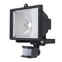 Parkhurst Black Mains-powered Outdoor Halogen Motion Motion sensor Floodlight