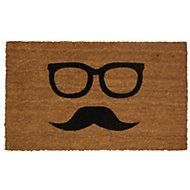 Colours Uri Black & natural Moustache Coir Door mat (L)750mm (W)450mm
