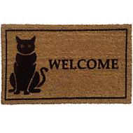Colours Black & natural Coir & PVC Door mat (L)750mm (W)450mm