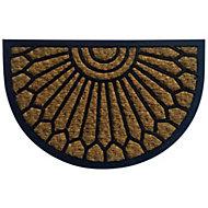 B&Q Black & natural Half moon Coir & rubber Door mat (L)400mm (W)400mm