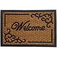 Black & natural Coir & rubber Door mat (L)0.4m (W)0.4m