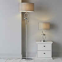Colours Hadwick Twisted Chrome effect Halogen Floor lamp