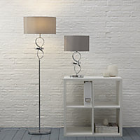 Colours Hadwick Twisted Matt Chrome effect Table lamp