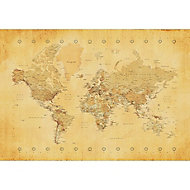 Map Multicolour Canvas art (H)600mm (W)800mm