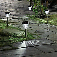 Blooma Aurora Silver effect Solar-powered LED Outdoor Spike light, Pack of 6