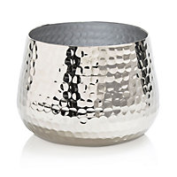 Colours Nickel effect Hammered Aluminium Votive holder, Medium