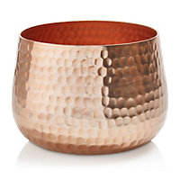 Colours Copper effect Hammered Aluminium Votive holder, Medium