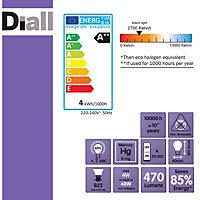 Diall B22 4W 470lm GLS LED Filament Light bulb, Pack of 3