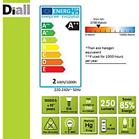 Diall E14 2W 250lm Candle LED Filament Light bulb, Pack of 3