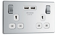 Colours Polished Chrome effect Double USB socket, 2 x 2.1A USB