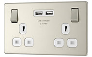 Colours Nickel effect Double USB socket, 2 x 2.1A USB