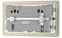 Colours Nickel effect Double USB socket, 2 x 2.1A USB