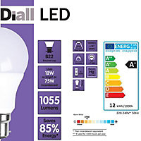 Diall B22 12W 1055lm LED Dimmable Light bulb