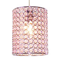Colours Mokena Pink Crystal effect Beaded Light shade (D)160mm