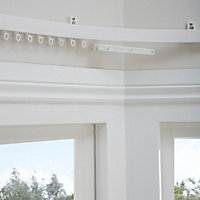 Corded White Fixed Curtain track, (L)1.5m