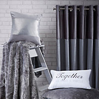 Linnet Concrete Panelled Lined Eyelet Curtains (W)167cm (L)183cm, Pair