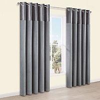 Linnet Concrete Panelled Lined Eyelet Curtains (W)167cm (L)228cm, Pair