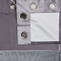 Linnet Concrete Panelled Lined Eyelet Curtains (W)228cm (L)228cm, Pair