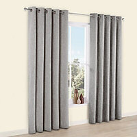 Thornbury Grey Lined Eyelet Curtains (W)228cm (L)228cm, Pair