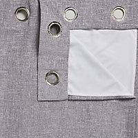 Thornbury Grey Lined Eyelet Curtains (W)228cm (L)228cm, Pair