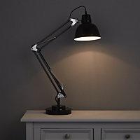 ISAAC Gloss Black CFL Desk lamp
