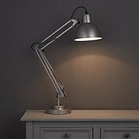 ISAAC Gloss Silver effect CFL Desk lamp