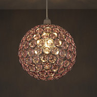Colours Zoe Light pink Crystal effect Beaded Light shade (D)250mm