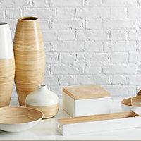 White Lacquered Bamboo 8 drawer Storage box
