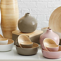 Colours Taupe Lacquered Bamboo Bowl