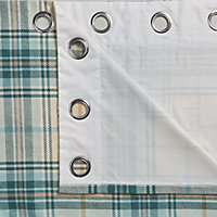 Lamego Cream & duck egg Tartan Lined Eyelet Curtains (W)167cm (L)183cm, Pair