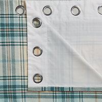 Lamego Cream & duck egg Tartan Lined Eyelet Curtains (W)167cm (L)228cm, Pair