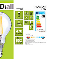 Diall E14 4W LED filament Round Light bulb