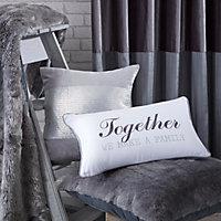 Adoris Together we make a family' White & grey Cushion