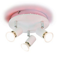 Spectrum Colour changing White Gloss 3 Lamp Ceiling light