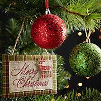 Tartan Tartan Merry Christmas Plaque