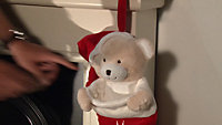 """Battery operated Red & white """"My First Christmas"""" teddy bear Stocking"""