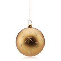 Matt gold effect bauble Gold effect With scalloped pattern Decoration