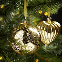 Crackle gold effect Gold effect Bauble Decoration
