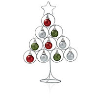 Red, green & silver effect Decorative wire Tabletop tree decoration