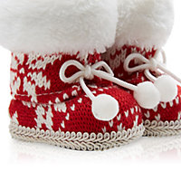 Knitted Red & cream Boots Decoration