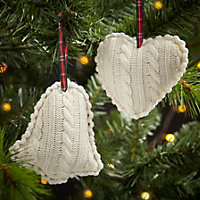 Knitted Cream Heart Decoration