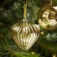 Crackle gold effect Gold effect Glass heart Decoration