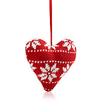 Knitted Cream & red Heart Decoration