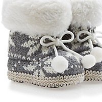 Knitted Cream & grey Boots Decoration