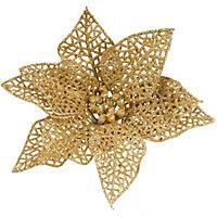Glitter Gold effect Poinsettia Tree decoration