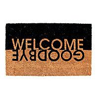 Colours Edra Welcome, Goodbye Black & white Coir Door mat (L)0.75m (W)0.45m