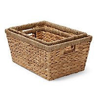 Water hyacinth & seagrass Stackable Storage basket, Set of 3