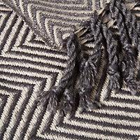 Isosceles Grey Herringbone Knitted Soft touch throw